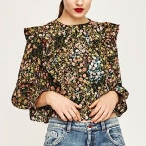 Zara Floral Printed Blouse with Ruffles, size S